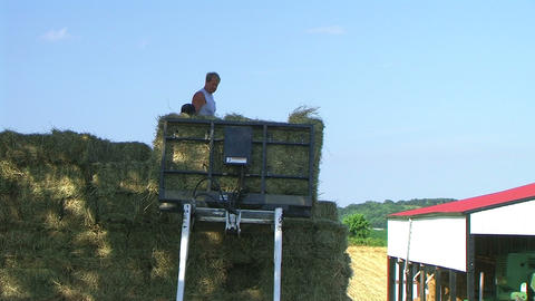 Farmers Loading Hay 03 Footage