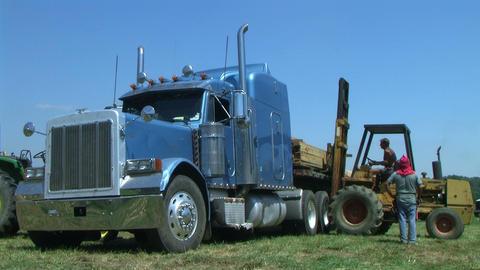 Forklift Unloading Construction Lumber 03 Footage