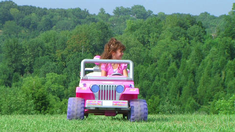 Girl Driving Toy Jeep Live Action
