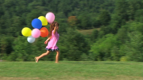 Girl Skipping With Balloons stock footage