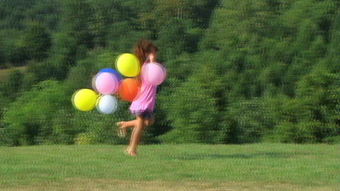 Girl Skipping with Balloons Stock Video Footage