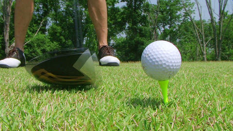 Golfer Teeing Off With Driver Stock Video Footage