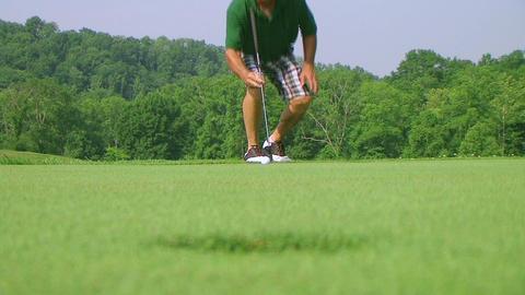 Golfer Sinks Putt 03 Stock Video Footage