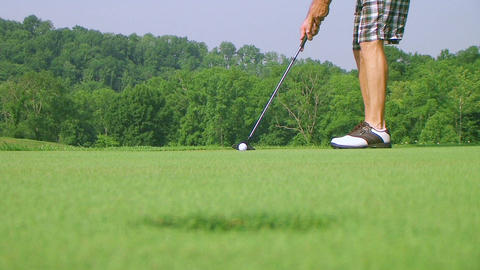 Golfer Sinks Putt 03 Footage