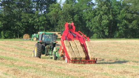 Farmer Square Baling Hay Stock Video Footage