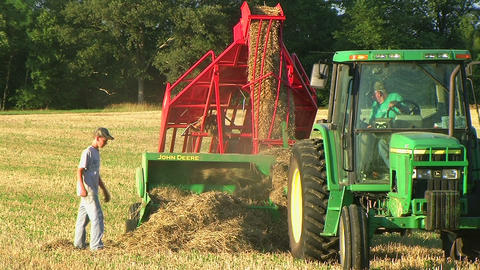 Farmer Square Baling Hay 04 Stock Video Footage