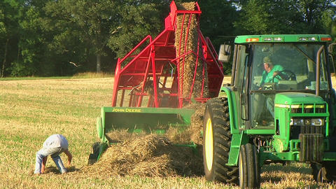 Farmer Square Baling Hay 04 Footage