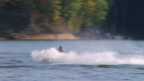 Jet Ski Jumps On Lake 03 Stock Video Footage