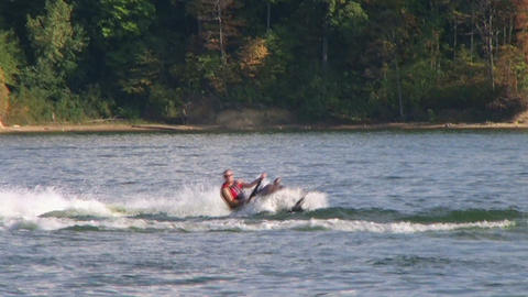 Jet Ski Sprays Water Stock Video Footage