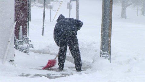 Man Shoveling Snow 03 Stock Video Footage
