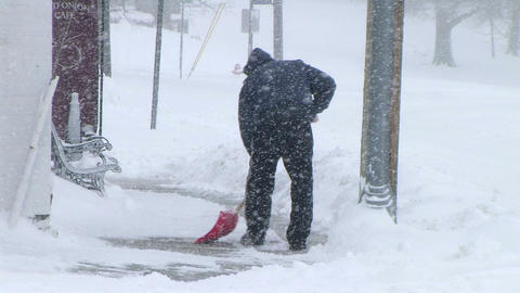 Man Shoveling Snow 03 Footage