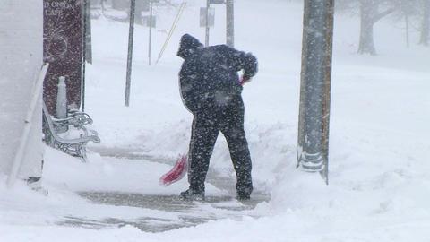 Man Shoveling Snow 03 Stock Video Footage
