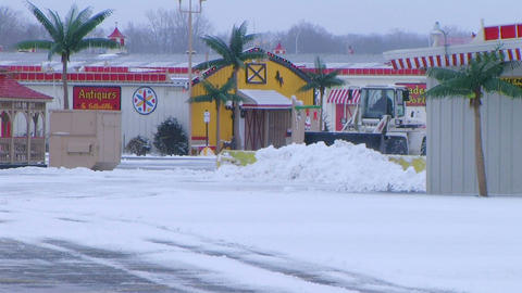 Snow Plow Clearing Lot Stock Video Footage