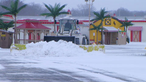 Snow Plow Clearing Lot Footage