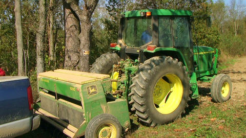 Tractor Sowing With Seeder Stock Video Footage
