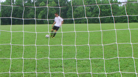 Soccer Goal Kick Stock Video Footage