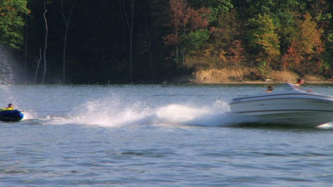 Tubing on Lake Stock Video Footage