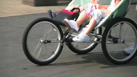 Kids in Stroller Stock Video Footage