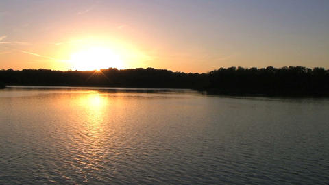 Sunset On Lake stock footage