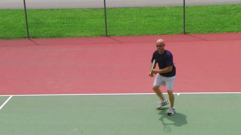 Tennis Player Volleys 02 Footage