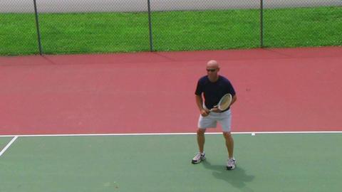 Tennis Player Volleys 02 Stock Video Footage