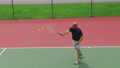 Tennis Player Volleys 02 Stock Video Footage