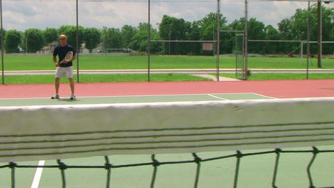 Tennis Player Volleys 04 Stock Video Footage