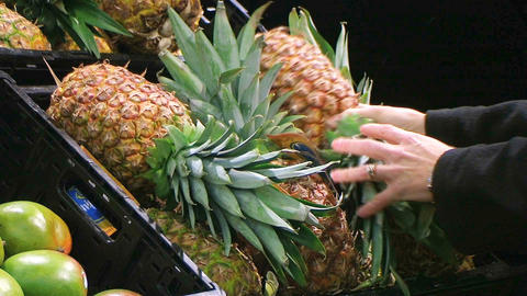 Woman Selects Pineapple Archivo