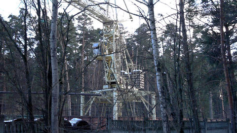 Crane work in forest time lapse Stock Video Footage