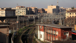 Train timelapse 02 Tilt Shift Stock Video Footage
