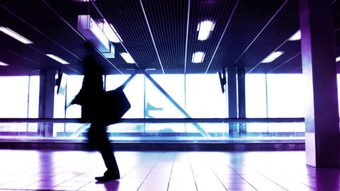 People silhouettes at the airport building Footage