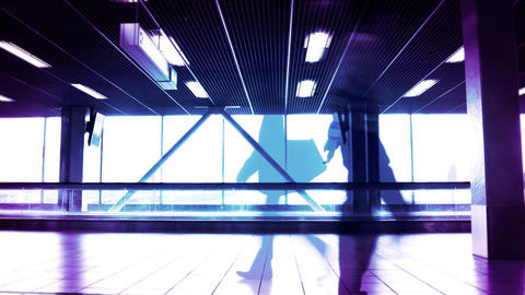 People silhouettes at the airport building Stock Video Footage