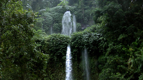 two rain forrest waterfall Stock Video Footage