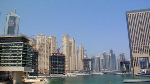 dubai marina pan Stock Video Footage