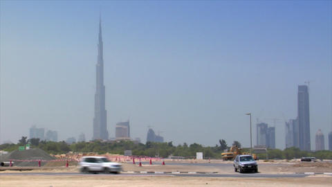 traffic along dubai skyline Stock Video Footage