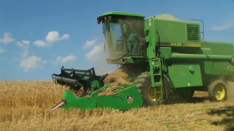 Combine Harvesting Wheat 07 Stock Video Footage