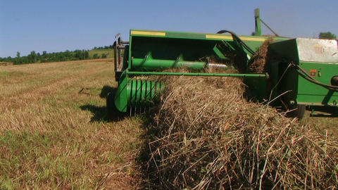 Square Baling Hay 03 Stock Video Footage