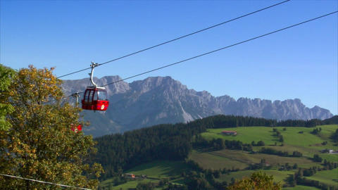 ropeway crossing high alp wide Stock Video Footage