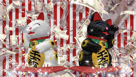 Beckoning Cat 2 Big smile wb uc HD Stock Video Footage