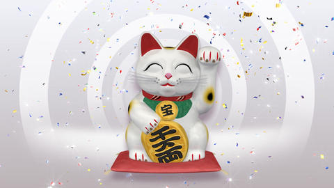Beckoning Cat smile w sa 1 CG動画素材