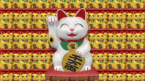 Beckoning Cat Big smile w sa 2 Stock Video Footage