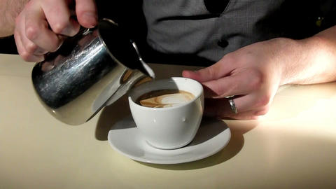 artistic making caffe latte Stock Video Footage