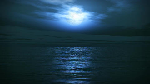 (1163) Blue Full Moon Tropical Ocean Waves Romantic Night Travel Animation