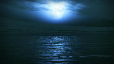 (1163) Blue Full Moon Tropical Ocean Waves Romantic Night... Stock Video Footage