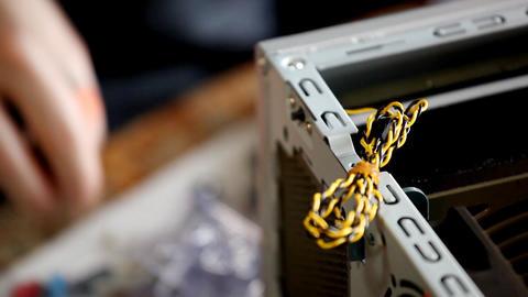 fix screw on back side main board Stock Video Footage