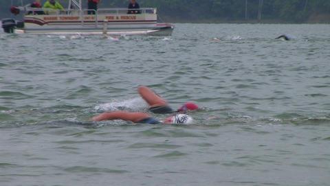 Swimmers Racing In Triathlon 03 Stock Video Footage