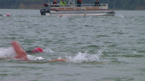 Swimmers Racing In Triathlon 03 Footage