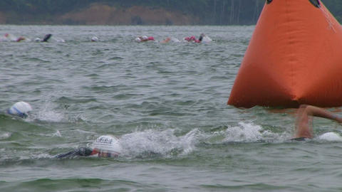 Swimmers Racing In Triathlon 05 Stock Video Footage