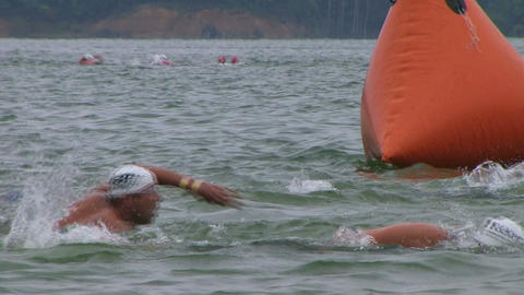 Swimmers Racing In Triathlon 05 Footage