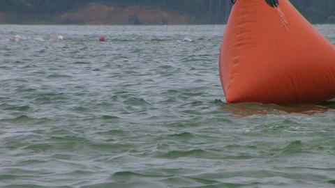 Swimmers Racing In Triathlon 05 Stock Video Footage